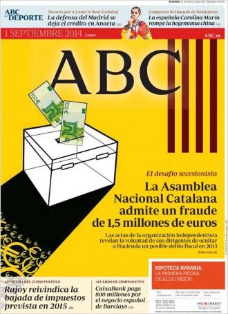 «La Asamblea Nacional Catalana admite un fraude de 1,5 millones de euros», a la portada de l'«ABC»