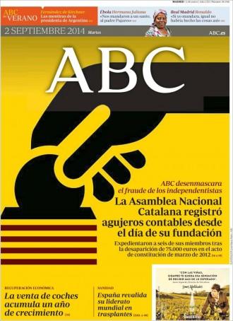 Vés a: «La Asamblea Nacional Catalana registró agujeros contables desde el día de su fundación», a la portada de l'«ABC»