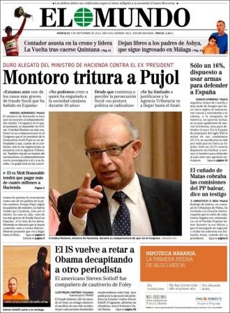 «Montoro tritura a Pujol», a la portada d'«El Mundo»