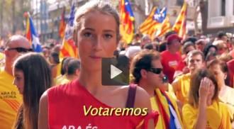 «Votaremos, para ganar la libertad», en castellà, francès i anglès
