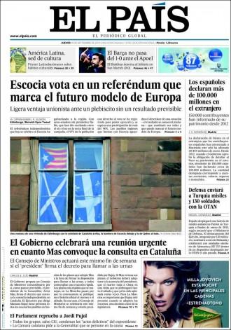 «El Gobierno celebrará una reunión urgente en cuanto Mas convoque la consulta en Cataluña», a la portada d'«El País»