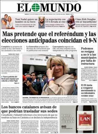 «Mas pretende que el referéndum y las elecciones anticipadas coincidan el 9-N», a la portada d'«El Mundo»